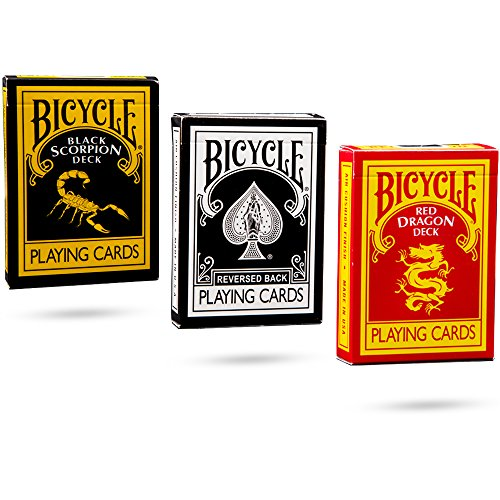 Ultimate Bicycle Black Magic 3 Deck Collection Playing Cards with ''The Black Reverse, Red Dragon and Black Scorpion'' Decks by Magic Makers
