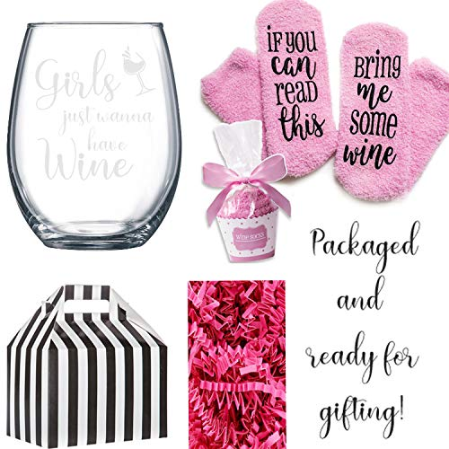 (If You can read this Bring Me Some Wine Socks with a Stemless Girls Just Wanna have Wine Glass in a Cute Box)