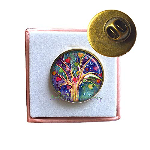 Tree of Hearts Brooch, Tree Jewelry Heart Jewelry Valentine Gift Valentines Gift Heart Pin Anniversary Jewelry,RN390 (G2)