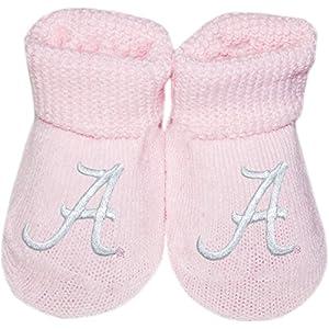Creative Knitwear University of Alabama Crimson Tide Script A Pink Newborn Baby Booties