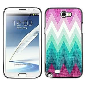 Be Good Phone Accessory // Dura Cáscara cubierta Protectora Caso Carcasa Funda de Protección para Samsung Note 2 N7100 // Pink Teal Shape Pattern Lines
