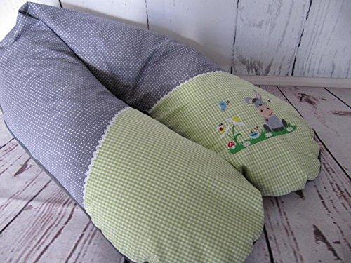 Stillkissen - grau - grün - Esel