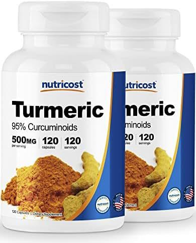 Nutricost Turmeric Curcumin Pills (95% Curcuminoids) (2 Pack) - 500mg, 120 Pills Per Bottle
