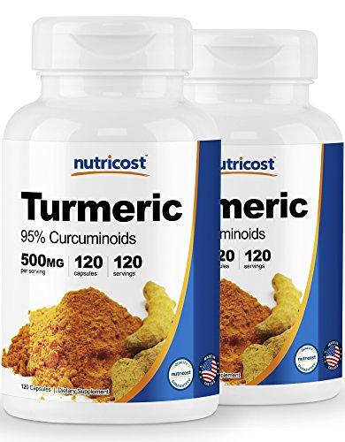 Nutricost Turmeric Curcumin Pills 95 Curcuminoids 2 Pack – 500mg, 120 Pills Per Bottle