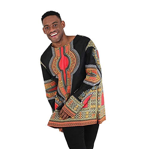 utopia africa Formal Trad Print Long Sleeve Dashiki - Black by utopia africa