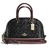 Coach Sierra Satchel in Signature Debossed Patent Leather, Black Oxblood