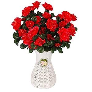 Lopkey Silk Fake Flower Artificial Red Azalea Bush white vase,Red 103