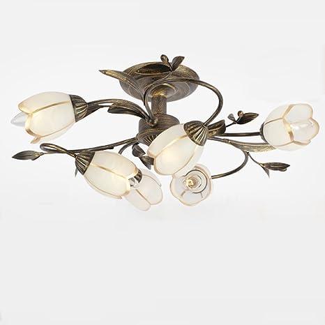 Lámpara de techo Creativo clásico hierro decorativo vidrio ...