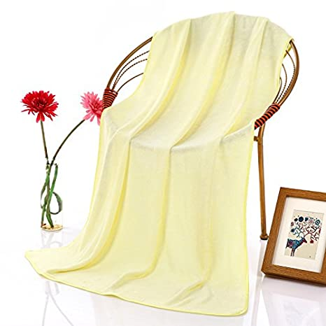 Dreamingces-Toallas De Baño El Color Puro Amarillo 70*140Cm Ultra Suave Y Absorbente