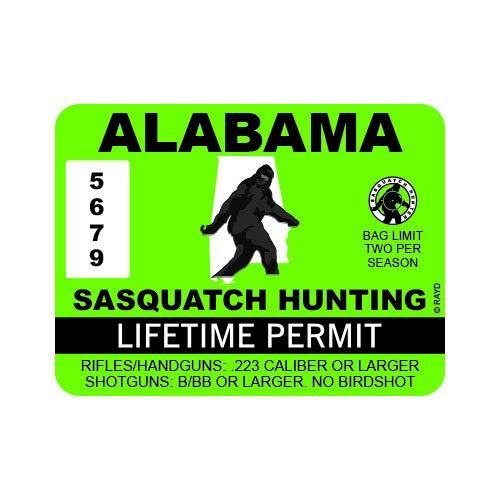 "RDW Alabama Sasquatch Hunting Permit - Color Sticker - Decal - Die Cut - Size: 4.00"" x 3.00"""