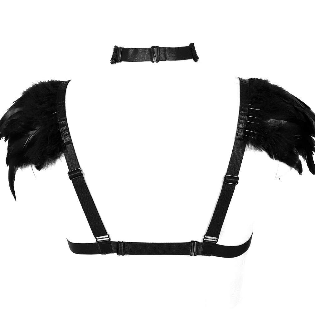 BBOHSS Feather Body Harness Lingerie Cape CagedGothic Punk Bralette Epaulettes Burning Man