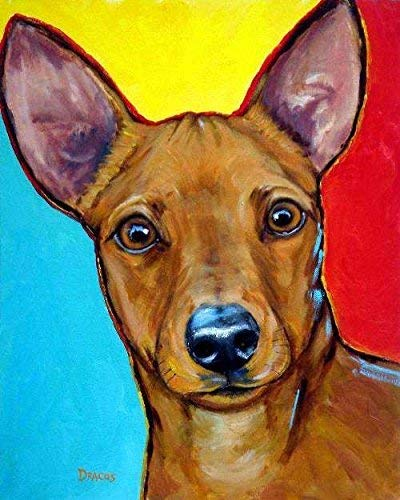 Miniature Pinscher Dog Art Print, Red Minpin on bright background, Print of Original Dog Painting by Dottie Dracos, Print sizes from 8x10