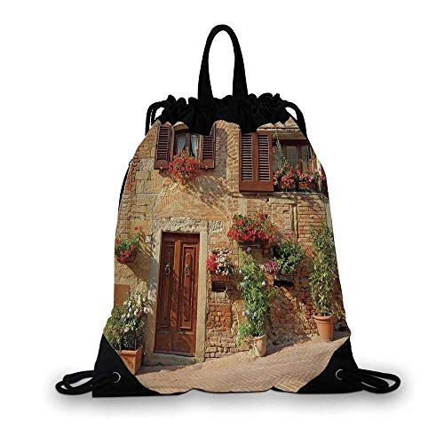 Tuscan Nice Drawstring Bag,Picturesque Lane With Mediterranean Architecture Flowers Italian Town For hiking,7.4