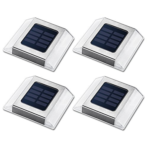 Siedinlar 4 Pack Solar Deck Lights Waterproof Step Lights Path Road Solar Lights for Garden Patio Yard Sidewalk Pathway Stairs Outdoor For Sale