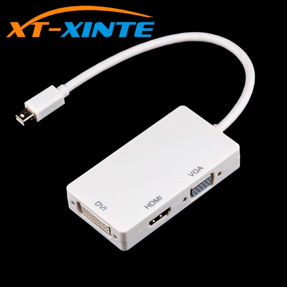 Computer Cables 3 in 1 Mini DP Display Port Male to HDMI//DVI//VGA Cable Adapter Converter Support 1080P Thunderbolt Interface for Macboo Pro Dell Cable Length: 15mm, Color: White