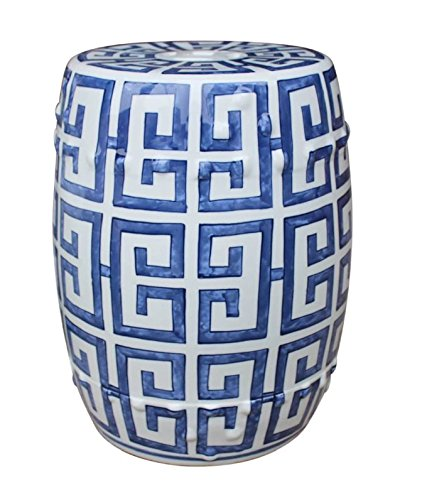 Legends of Asia Asian Traditional Chinese Blue and White Greek Key Porcelain Garden Stool