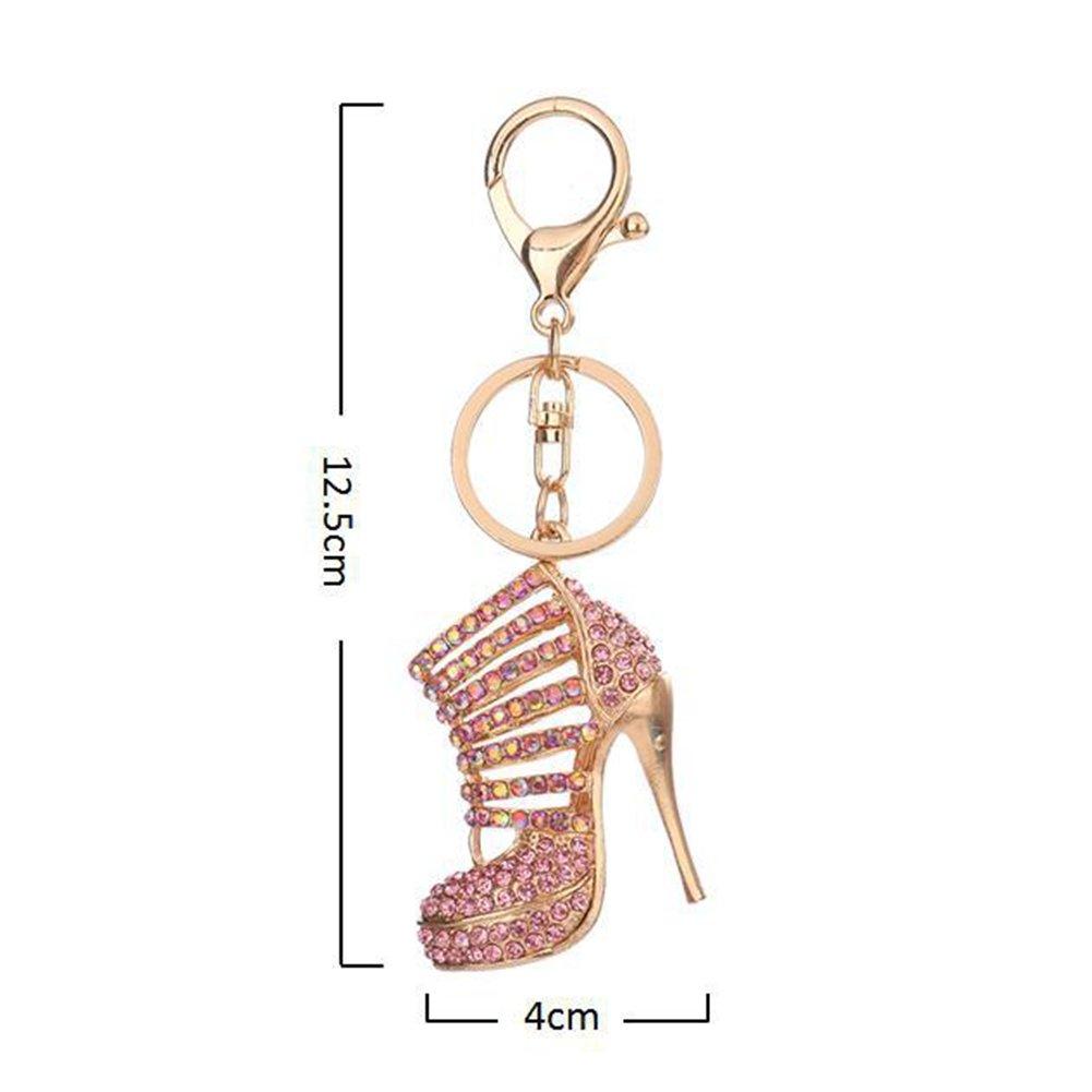 /Argent MAJGLGE Brillant Haut Talon Chaussures Pendentif Strass Porte-cl/és Bague Sac Portefeuille D/écor/