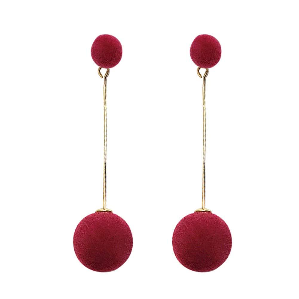 Huoju Women Fashion Sweet Cute All-match Long Style Concise Casual Exquisite Round Ball Dangle Earrings