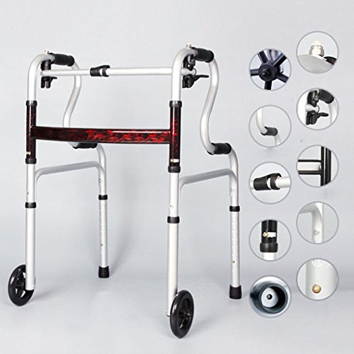 Walker Aluminum Alloy Folding Old Man Crutches Lightweight Folding Trave Height Adjustable Lightweight Travel Walker Locking Swivel Wheels by jiaminmin