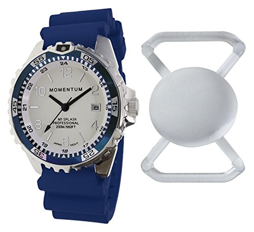(Momentum New St. Moritz M1 Splash Dive Watch with Blue Bezel, Blue Hyper Rubber Band & Free Watch Protector (Valued at $12.95) for Added Protection to The Glass Face of Your Dive Watch)