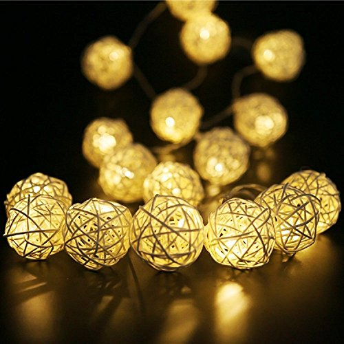 Rattan Ball String Lights,Globe Fairy Light Battery Powered 8ft 20 LED Indoor Outdoor Warm White Light for Party,Weedings,Christmas Decorative -