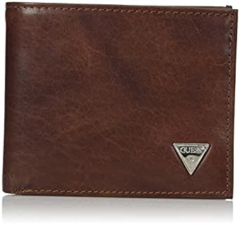 GUESS mens Leather Passcase Wallet Wallet - brown - One Size
