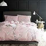 Beauty Decor Floral Duvet Cover Set Peach Blossom Flowers Bedding Sets Lightweight Microfiber Comforter Cover with Pillow Shams, King