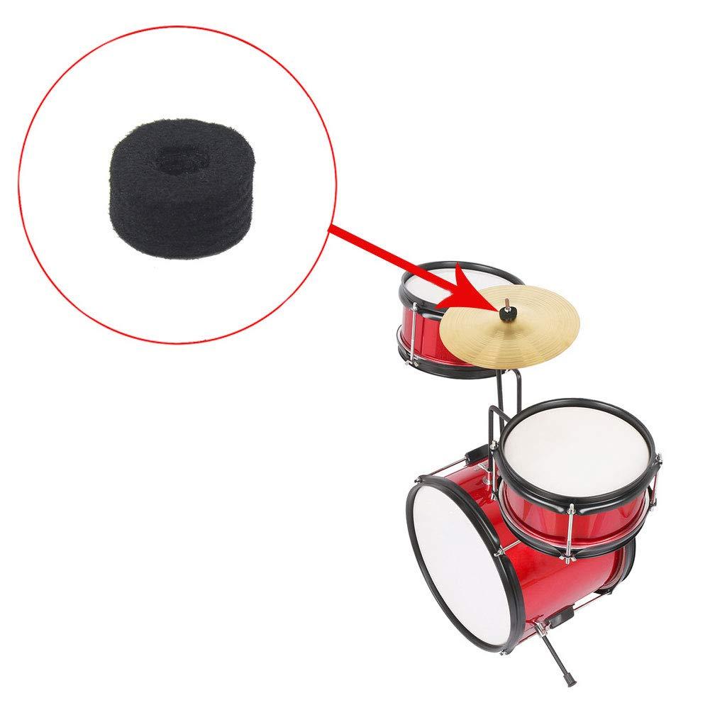 10 almohadillas de repuesto para accesorios de instrumentos musicales de Rock Drum con orificio para platillos negro Geshiglobal