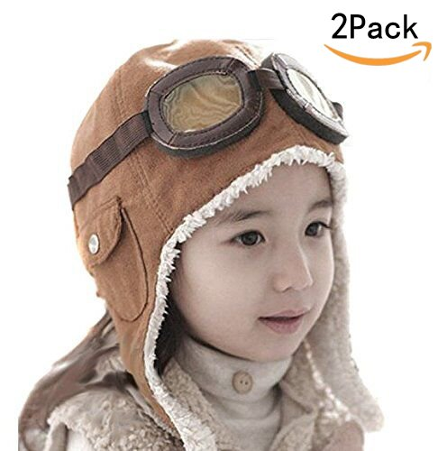 CTKcom 2-Pack Pilot Aviator Fleece Warm Hat Cap with Earmuffs for - Pilot Aviator