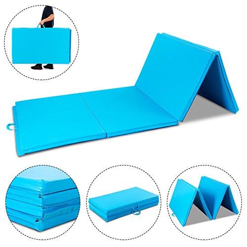 Blue Exercise Gym Mat 4'x10'x2 Portable Gymnastics Mat Folding Exercise Aerobics Fitness with Ebook