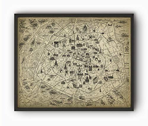 Les Connie Paris Landmarks Wall Art Print 4 Antique Map of Paris with Monuments Paris France Architecture Print Eiffel Tower Arc de Triomphe