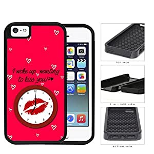 Red Lips Kiss With Mini Heart Shapes 2-Piece Dual Layer High Impact Rubber Silicone Cell Phone Case Apple iPhone 5 5s