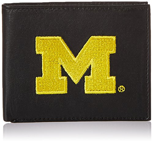 NCAA Michigan Wolverines Embroidered Genuine Leather Billfold Wallet - Leather Michigan Wolverines Wallet