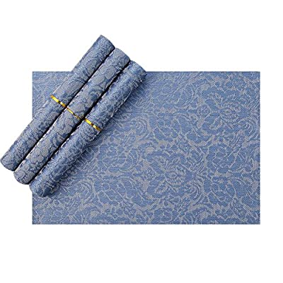 "Placemats,Heat-resistant Non-slip Woven Vinyl Placemats for Dining Table, Blue Placemats Set of 4 - Set of 4 Vinyl Table Placemats : Woven Thick 8 X 8 Multi Colors checker Pattern. Place Mats Composition: 70% PVC and 30% Polyester. Size: 17.7""*11.8"",large enough for single use. Heat Insulation Dining Room Placemats: Heat insulation,protect your table from scratches and stains.Durable and ideal decoration for Everyday Use. Ideal decoration Placemats for Dining Table: Exquisite and High-end Jacquard/checker pads, Double Border can be also dress up or down,suitable for indoors and outdoors. Great conference table mats for daily dining,family gathering,camping,parties,BBQ,etc.Perfect Gift for friends. - placemats, kitchen-dining-room-table-linens, kitchen-dining-room - 51szEDnWkKL. SS400  -"