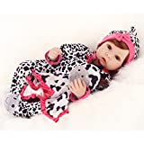 22 inches Realistic Reborn Baby Dolls Girl Silicone with Toy Cow
