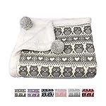 effe-bebe-Snow-Owl-Cotton-Knit-Sherpa-Baby-Blanket-30×40-Grey
