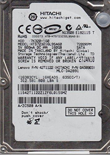 HTS723216L9SA60, PN 0A58903, MLC DA2891, Hitachi 160GB SATA 2.5 Hard (Hitachi Sata Controller)