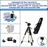Lightweight Full Size Tripod including Flexible Monopod, Universal Adapter, 5PC Lens Cleaning Kit, and USB 2.0 Card Reader for Sony Cybershot DSC-T110, Sony Cybershot DSC-WX10, Sony Cybershot DSC-WX9, Sony Cybershot DSC-T9, Sony Cybershot DSC-WX5, Sony Cy