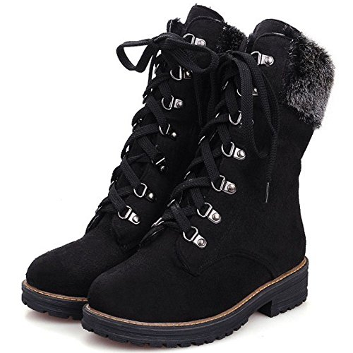 Short Faux Boots KemeKiss Fur Winter Up Warm Lace with Women Black Bootie Oq0Xw0zTx