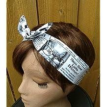 Wired Headband Dolly Bow Kitty Chronicle Bandanna Print Print Wired Dolly bow Rockabilly Wire Scarf Headband Bohemian Rabbit Ears