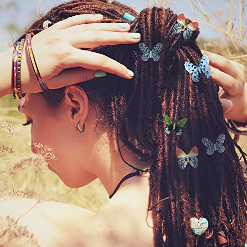 Amazon Com 20 Pieces Butterfly Dreadlocks Beads Hair Cuffs Clips Rings Colorful Braiding Hair Jewelry For Women Girls Hair Accessories Classic Butterfly Pattern Beauty