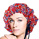Adjustable Double Layers Sailing Print Silk Sleep Cap Night Cap Head Cover Bonnet for Hair Beauty Fits head sizes: 20.5''-30'' (52-76cm)