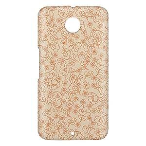 Loud Universe Motorola Nexus 6 3D Wrap Around Floral Decorative Print Cover - Beige