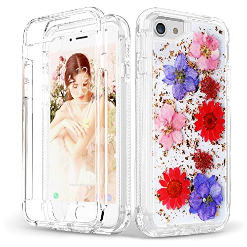 (iPhone 8 Case iPhone 7 Case, SEYMAC [Real Dried Pressed Flower] Full Body Protection [Shockproof] Girls Women Case for 4.7