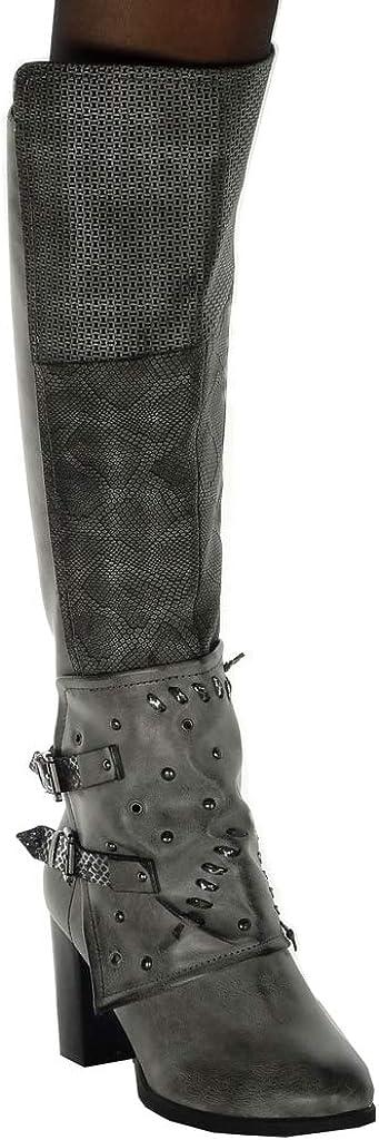 Angkorly Int/érieur Fourr/ée Chaussure Mode Cuissarde Botte Cavalier Motard Souple Femme clout/é Peau de Serpent Boucle Talon Haut Bloc 8 CM