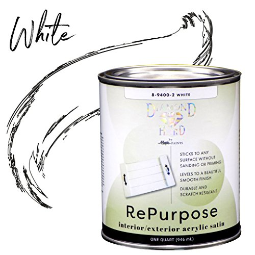 (Majic Paints 8-9400-2 Diamond Hard Interior/Exterior Satin Paint RePurpose your Furniture, Cabinets, Glass, Metal, Tile, Wood and More 1-Quart White)