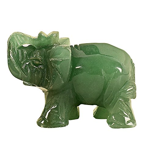 Merssavo 2 inch Hand Carved Green Aventurine Jade Stone Craving Lucky Elephant Feng Shui statue