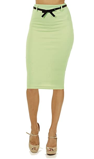 4ebc39803ec5 Junior High Waist Below Knee Pencil Skirt Skinny Fit at Amazon ...