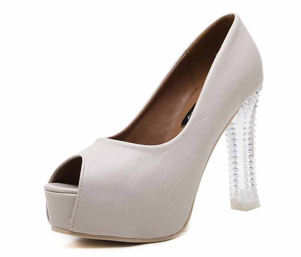 GLTER Frauen Peep Toe Pumps Europauml;ische 11 cm High-Heel Schuhe Plattform Sandalen OL Single Schuhe  39|Wei?