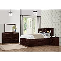 Roundhill Furniture Ankara Wood Bedroom Set, Includes King Bed, Dresser Mirror with Nightstand, Espresso